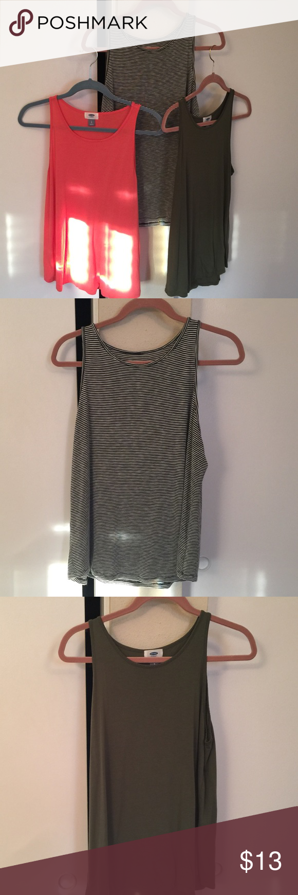 Old Navy tank top 3 pack Old Navy 3 pack tank tops- size large. Olive-green, peach, & black/white striped. All size large. The striped tank is a stretchy material. All very comfortable & breathable. Old Navy Tops Tank Tops