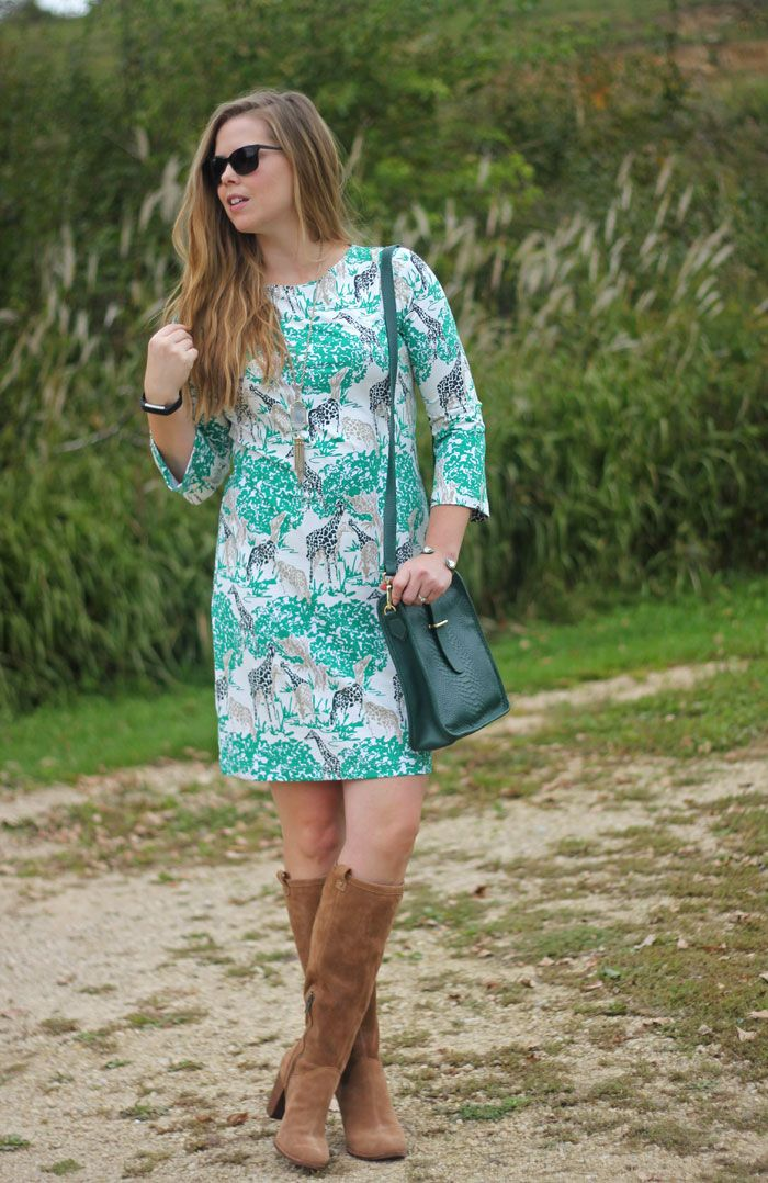 Melly M giraffe dress, UGG Ava boots, GiGi New York green purse