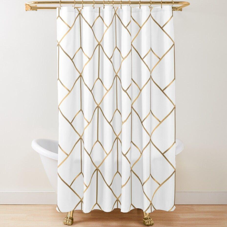 Geometric Gold Pattern Design 007 Shower Curtain By Isko1977 In 2021 Geometric Shower Curtain Gold Shower Curtain Luxury Shower Curtain