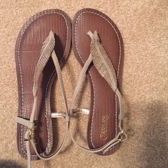 Carlos Santana leaf sandal Never worn! Leaf sandal with adjustable strap. Sparkle accents Carlos Santana Shoes Sandals