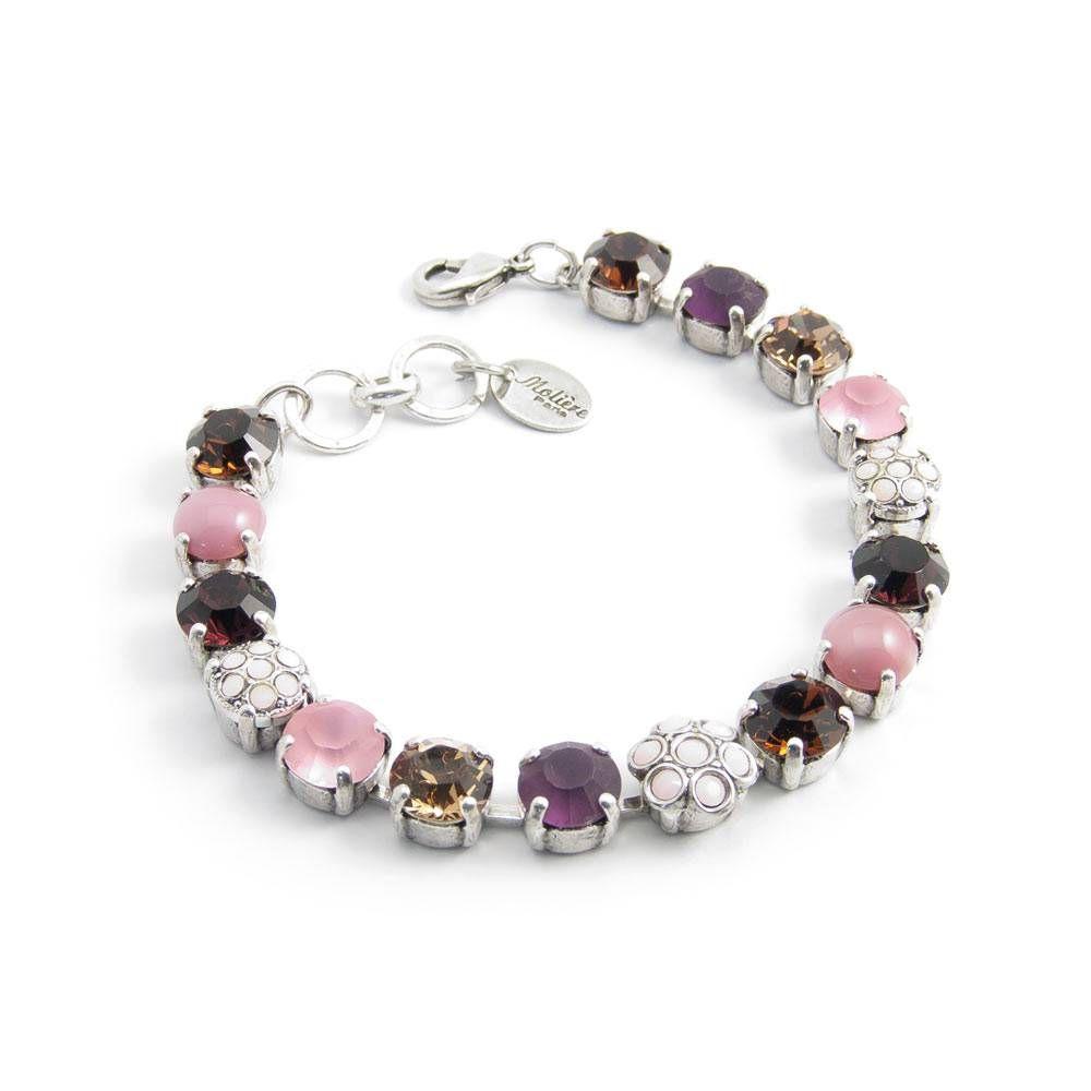 Moliere Paris Bruin roze armband met heldere en opaque Swarovski Elements kristallen en tijgeroog edelstenen