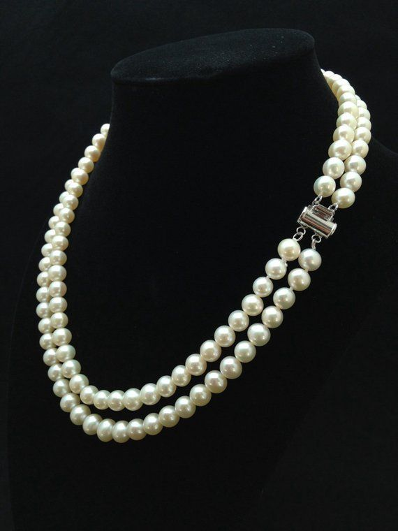 7ea67947d62406 Genuine Pearl Necklace, AAA+ Pearl Necklace, Double Strand Pearl Necklace,  Multi strand Freshwater P