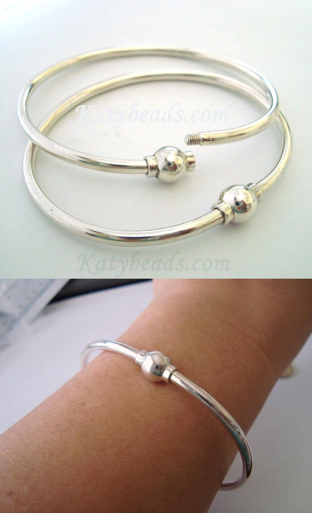 Precious Metal Without Stones 164313: 7 925 Plain Sterling Silver Charm  Bangle Screw Ball Clasp
