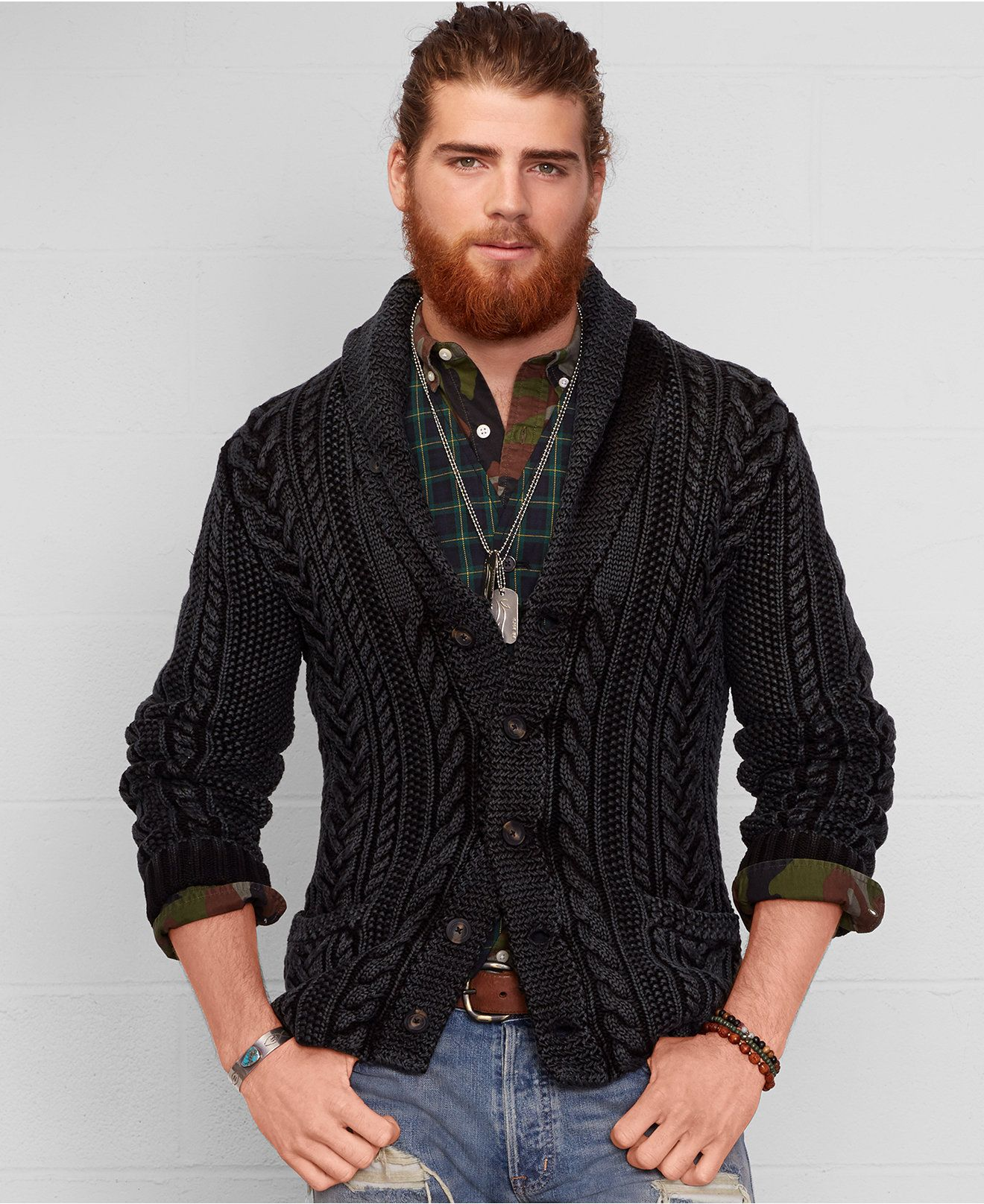 91f9cc725 Denim   Supply Ralph Lauren Cable Knit Shawl Cardigan - Sweaters - Men -  Macy s