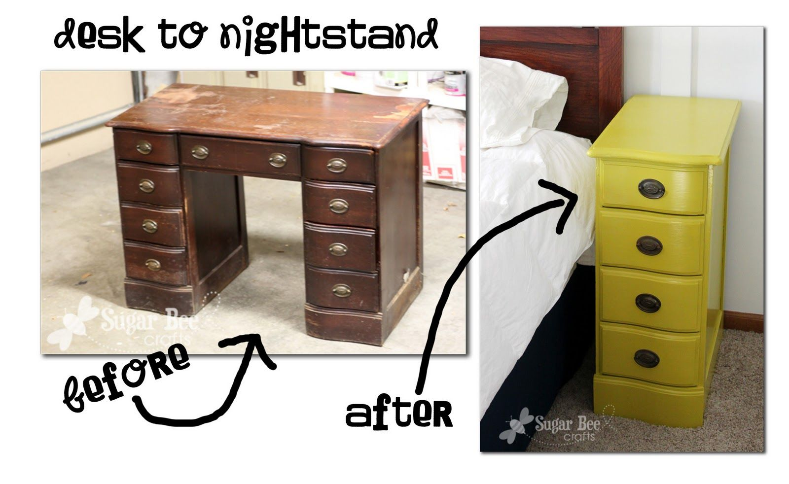 Ideas : Make two night stands from a desk.   Sugar Bee Crafts: sewing, recipes, crafts, photo tips, and more!: Nightstands - from a desk!