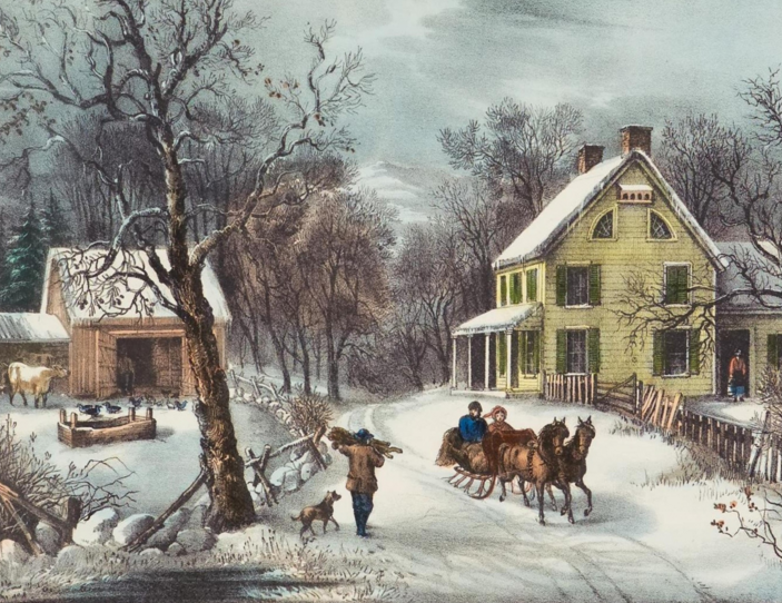 A Country Christmas Currier And Ives Currier And Ives Prints Lithograph