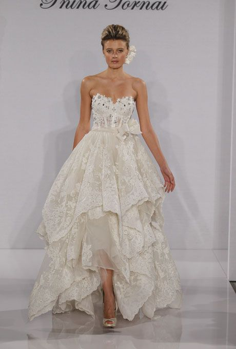 Stunning corset top and ruffling dress by Pnina Tornai. | Fashion ...