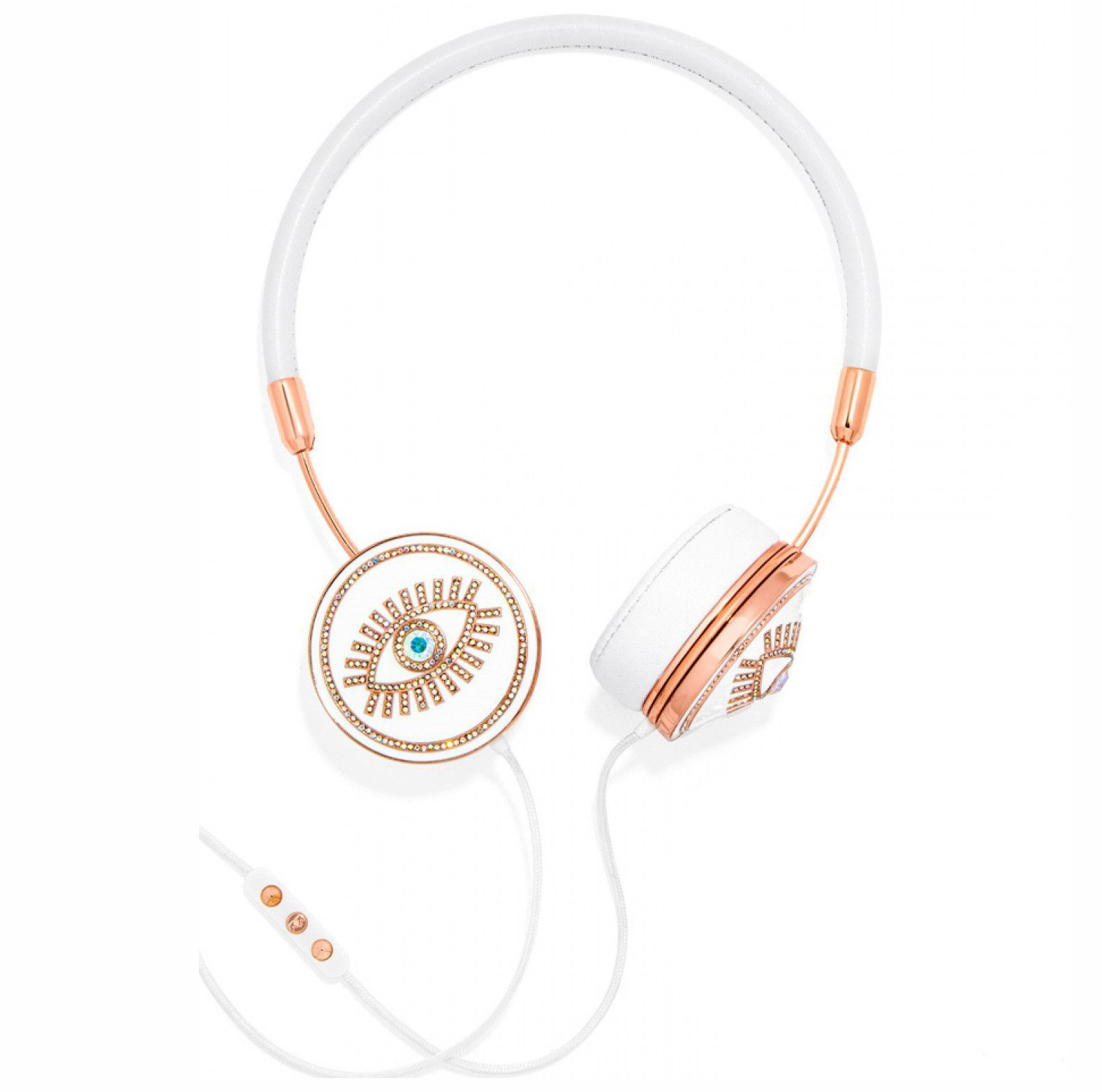 FRENDS x BaubleBar, Rose Gold & White Fortuna Headphones
