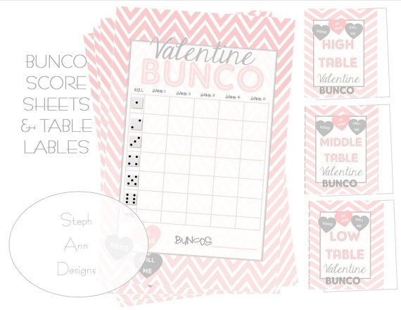 Printable ValentineS Day Bunco Score Sheet Printable ValentineS