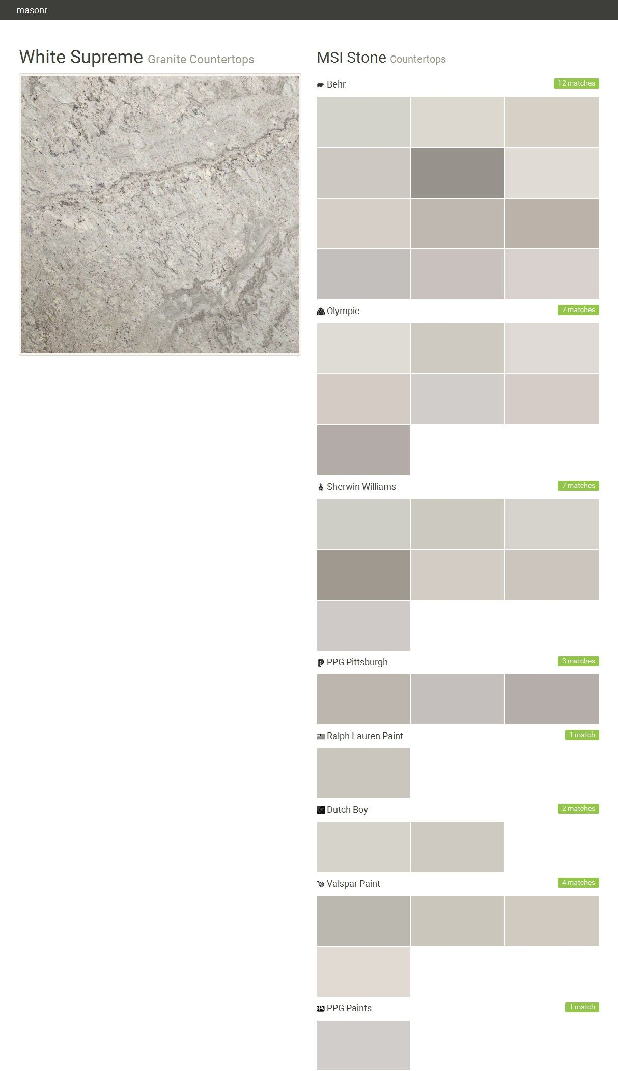 White Supreme. Granite Countertops. Countertops. MSI Stone. Behr. Olympic.  Sherwin