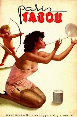 vintage illustration 1950 50s erotica stockings cupid