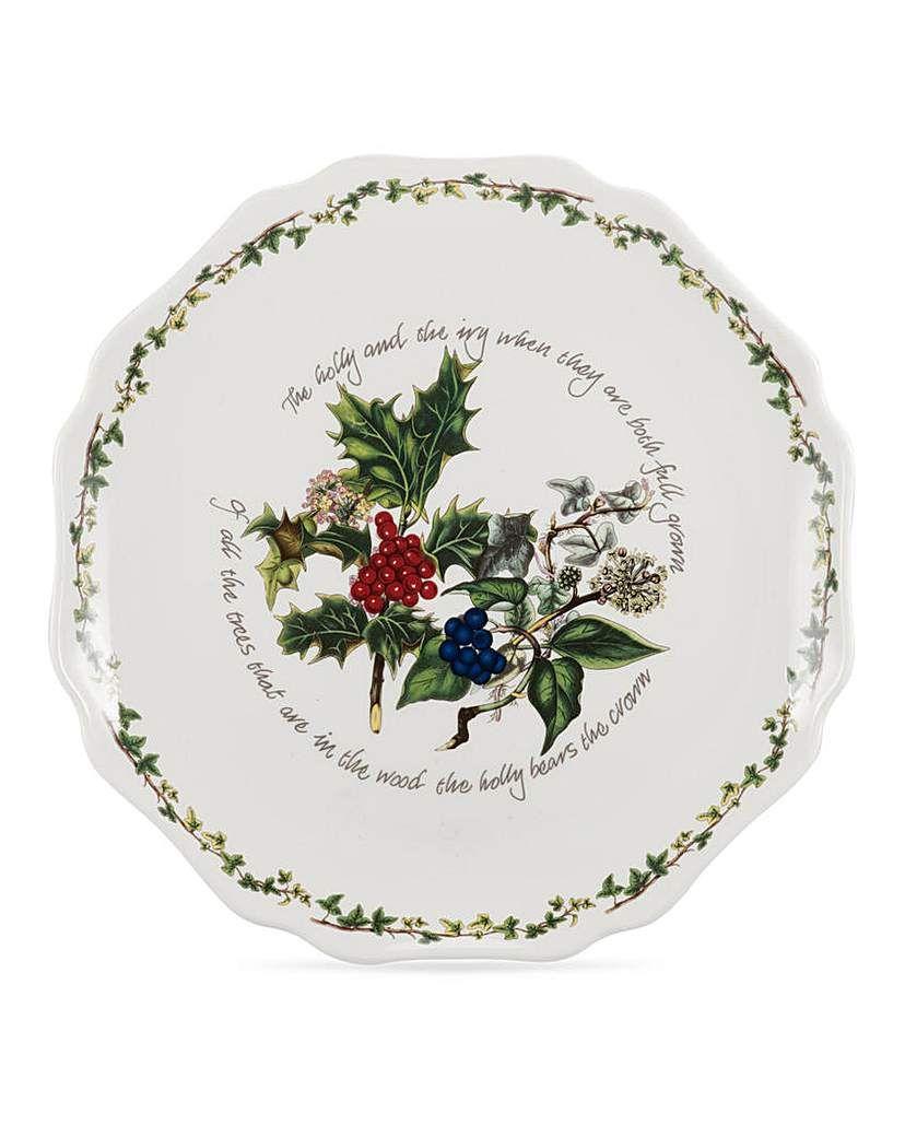 Holly Ivy Scalloped Platter Portmeirion Christmas Tableware Platters