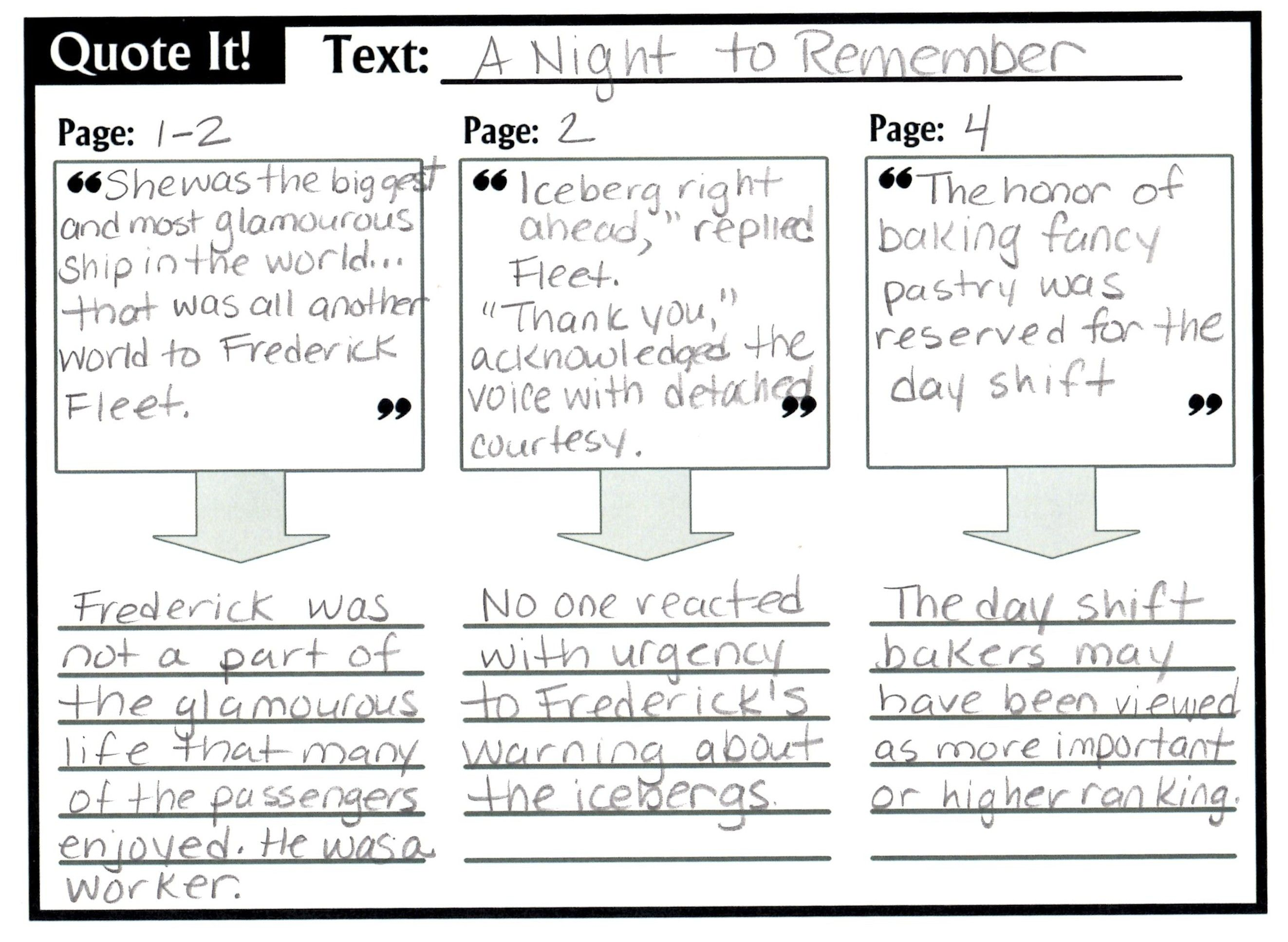 Quote It Graphic Organizer
