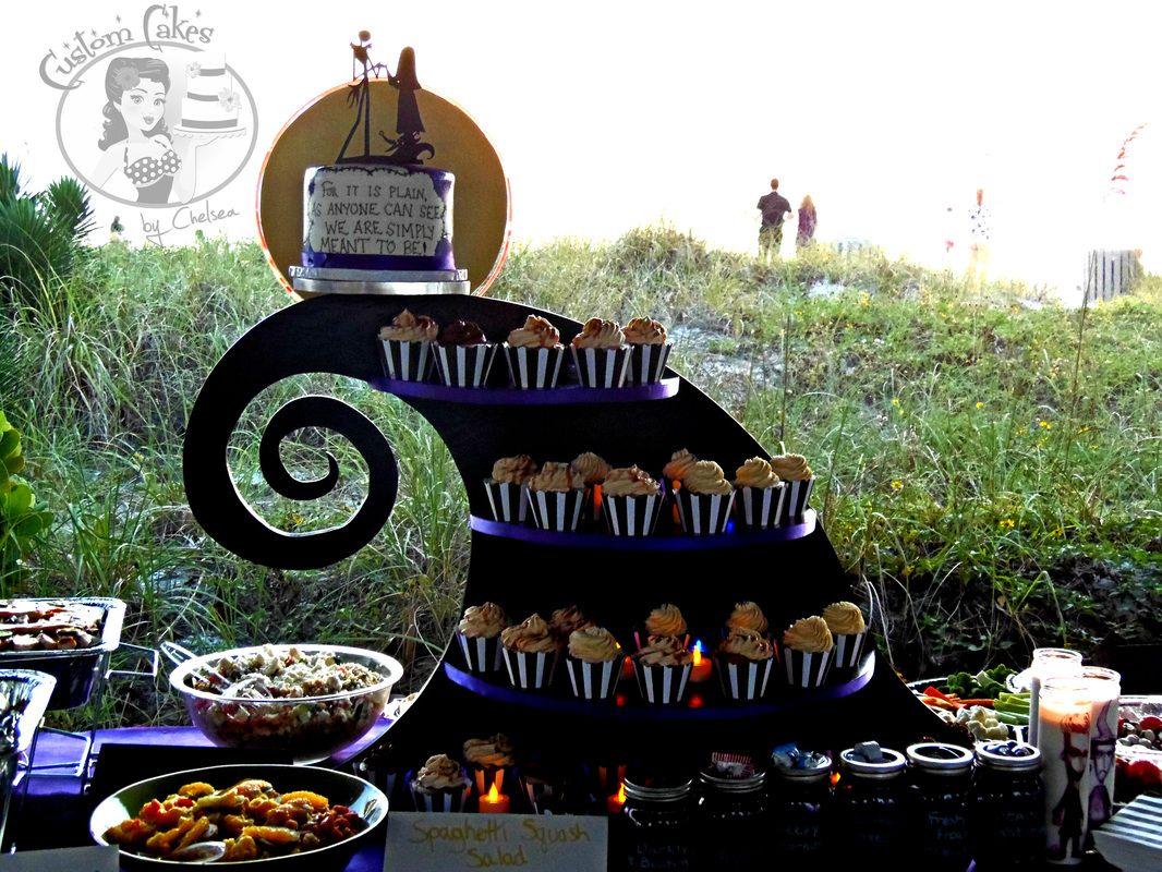 Nightmare Before Christmas wedding cake and cupcakes on a custom ...