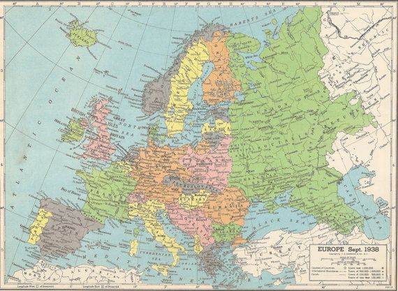Vintage atlas map   europe 1938  southern south america   double     vintage atlas map europe 1938 by ethelu s vintage on etsy