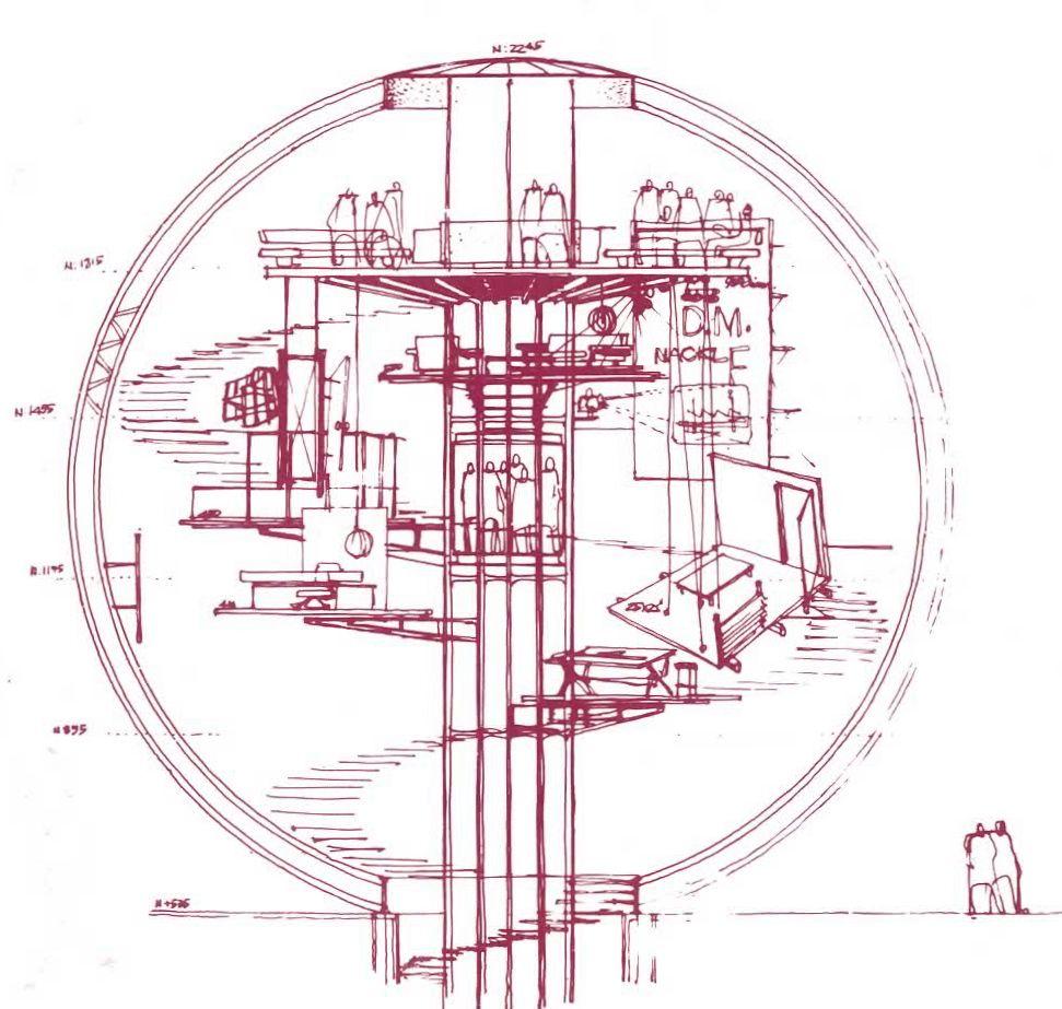 Croquis Del Corte De La Azotea Esfera De Exhibicion Industrias