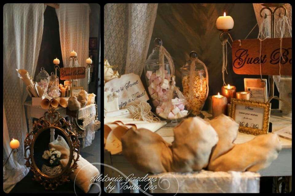 #candytable #guestbooktable #vintage #rustic #goldendetails #wedding #weddingdecoration #burlap #lace