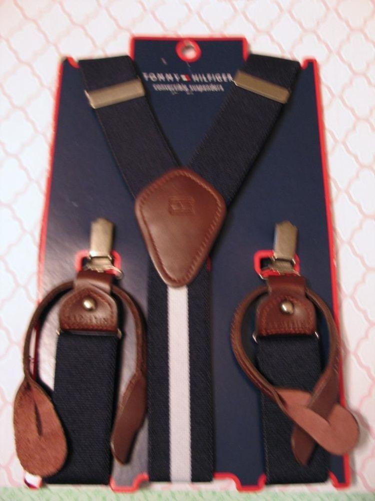 Tommy Hilfiger Convertible Suspenders Braces Navy White Stripe Leather Adjust #TommyHilfiger