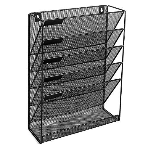 Veesun Wall Mounted File Holder Organizer Mesh Magazine Wall Rack 5 Compartments Black Steel Mesh Save Your Wall File Wall File Organizer Wall File Holder