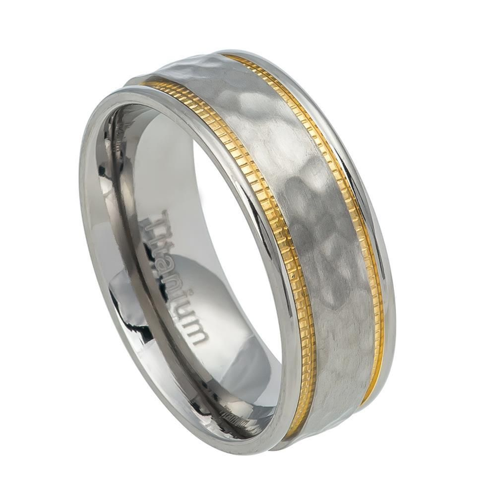 Titanium Yellow Ip-plated Grooved 7mm Polished Band Best Quality Free Gift Box