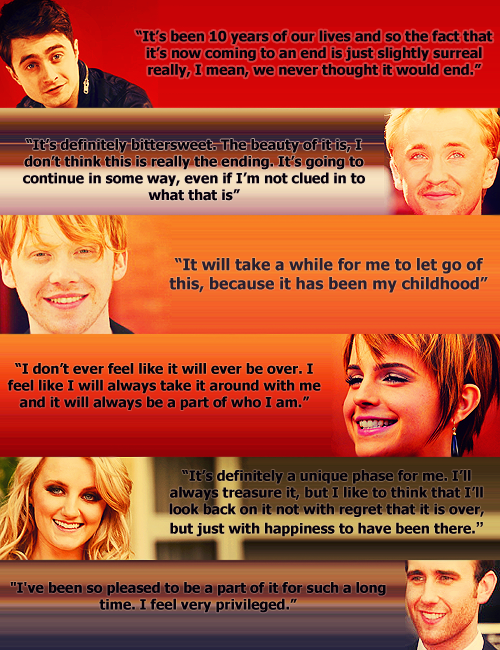 """HP Cast. And now I must go cry my eyes out over a book that was never """"just a book"""" as I remember that it is all over"""