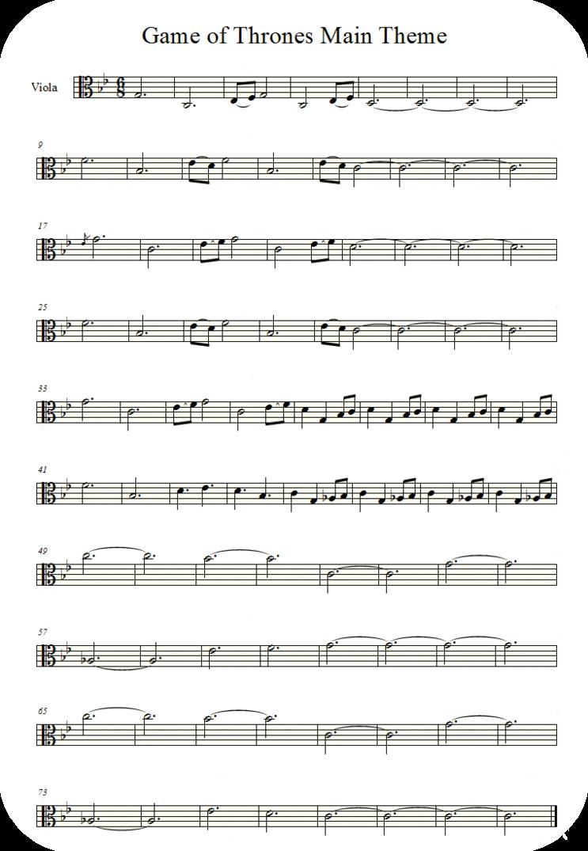 Game Of Thrones Titelmusik Klaviernoten game of thrones theme (viola)averoxot | viola sheet