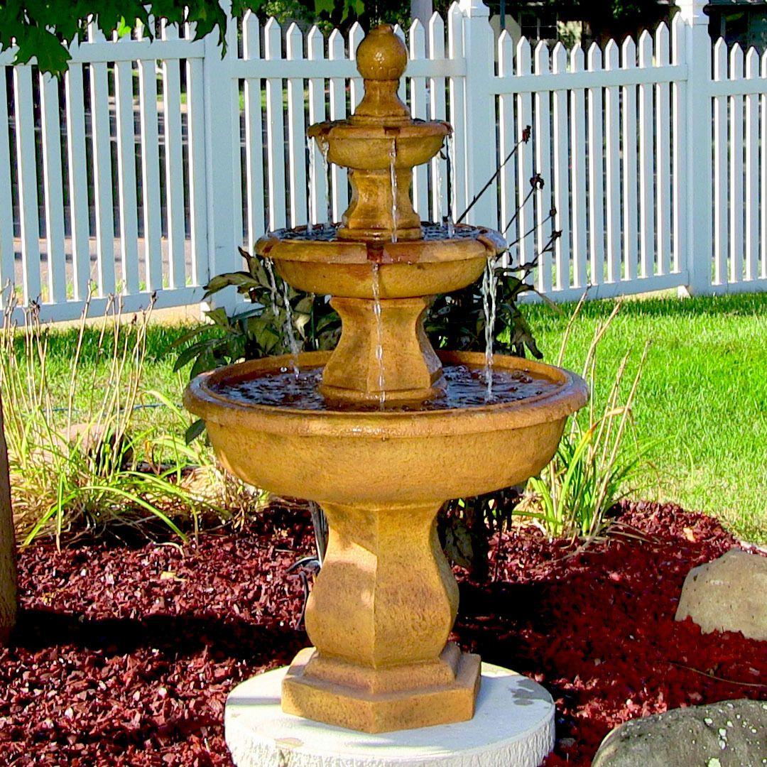 Sunnydaze Tropical 3 Tier Garden Water Fountain 40 Inch Tall Garden Water Fountains Garden Fountains Tiered Garden