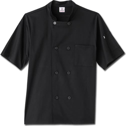 "18516 Five Star Unisex Short Sleeve Stretch Executive Chef Coat •29"" Length •8 Button Closure •Action Back Flap Vent with Moisture Wicking Breathable Mesh Underneath •Angled Towel Pocket on Lower Back Hip •1 Chest Pocket •Split Sleeve Pocket • •Sizes: XS-5X FOR MORE DETAILS CALL 501-225-6007"