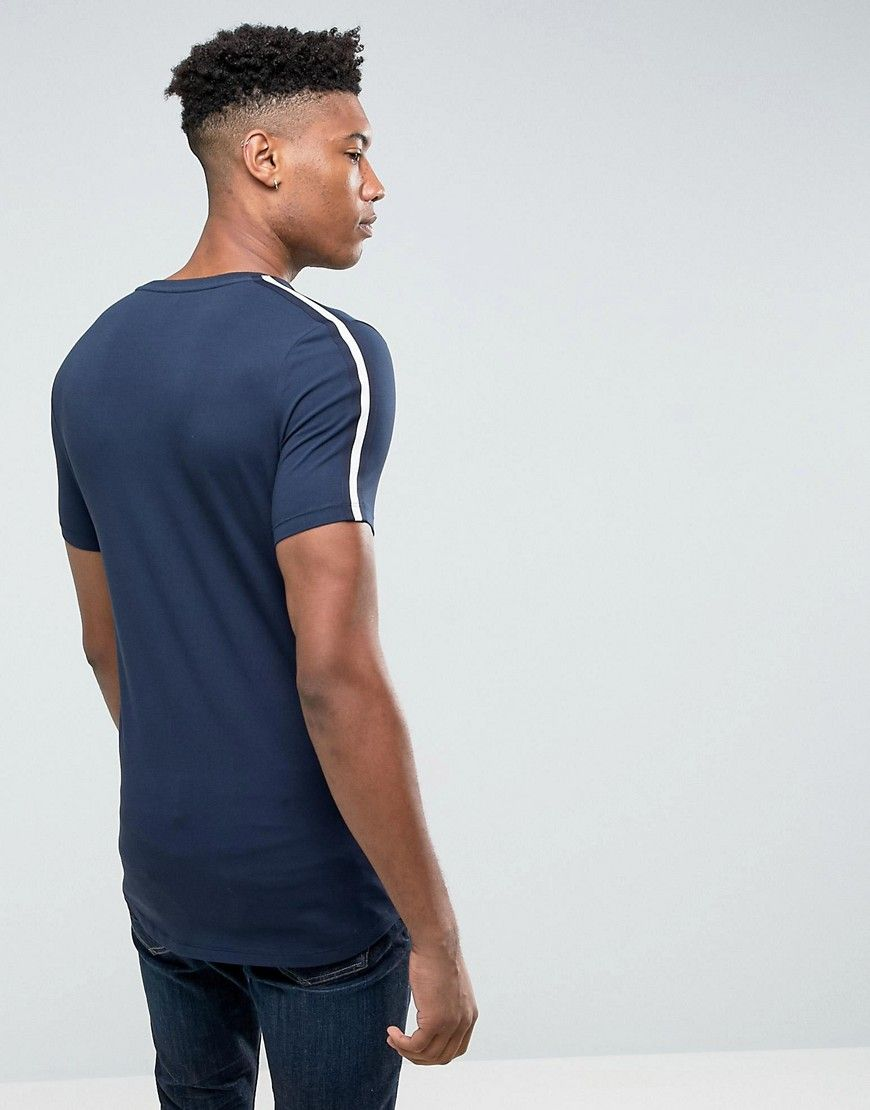 ASOS TALL Longline Muscle T-Shirt With Curved Hem And Shoulder Taping