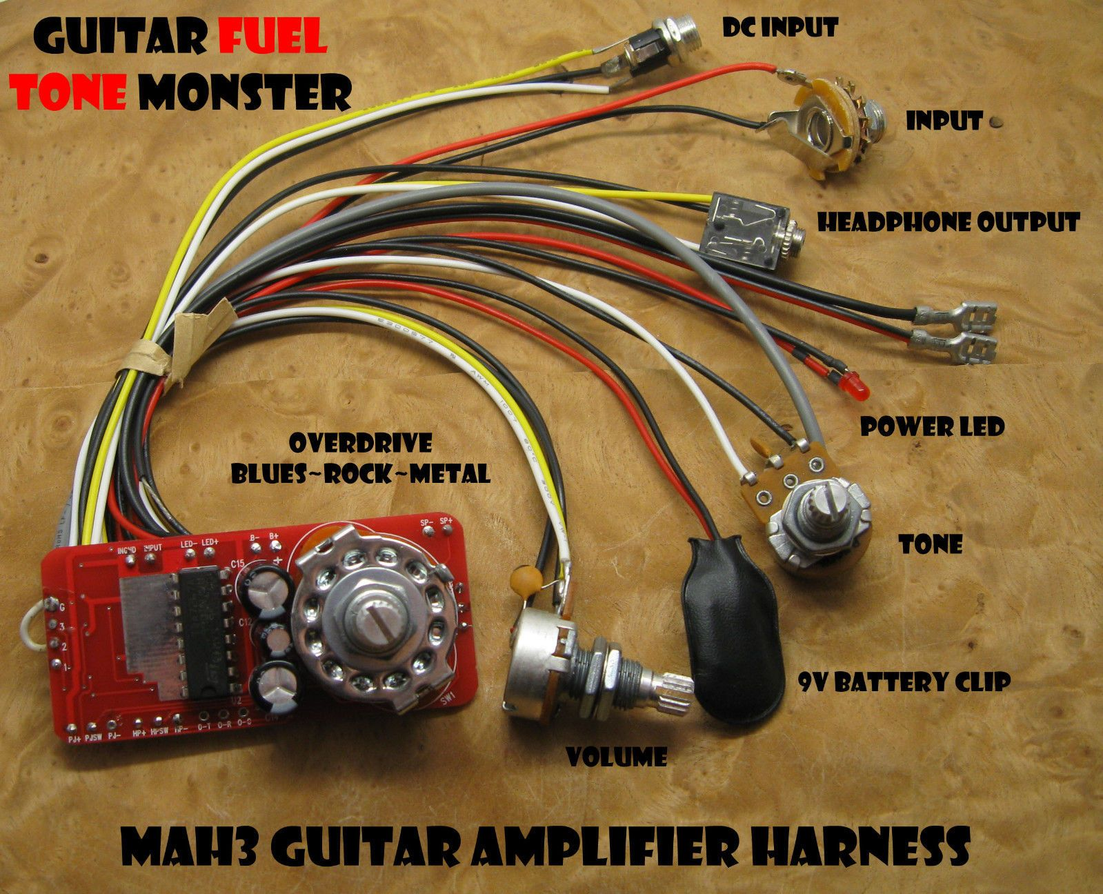 tone monster mah3 guitar amp kit 3w volume tone overdrive hdph 4 rh pinterest com