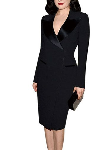 Covered Zipper Notched Collar Work Style Sheath Dress Ladies Long Sleeve Midi Dresses on buytrends.com
