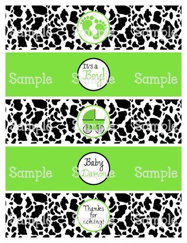 Printable M2M Cow & Green Boy Baby Shower Water Bottle Label Wraps | aMerAZNStyLe - Digital Art  on ArtFire