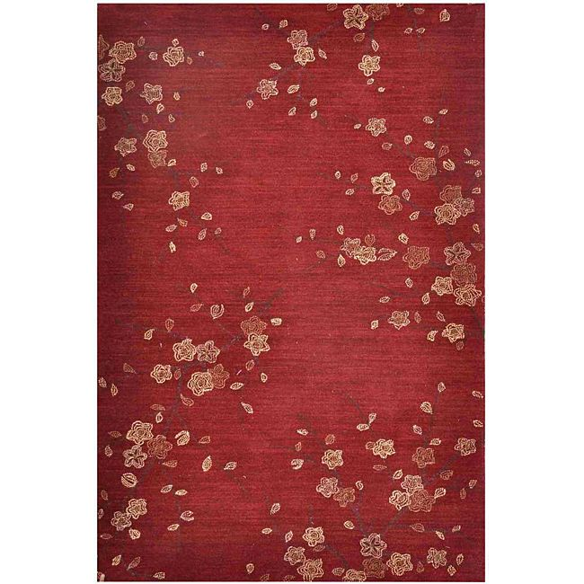 handtufted red floral area rug 7u00276 x 9u00276