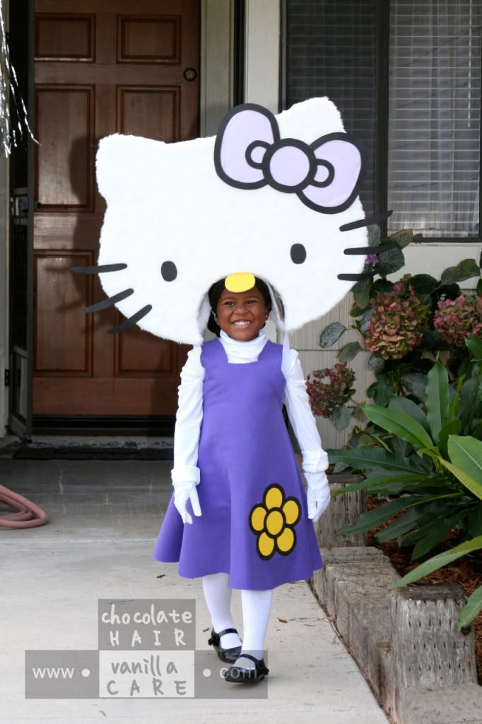 family friday homemade hello kitty costume with diy instructions chocolate hair - Halloween Hello Kitty Costume