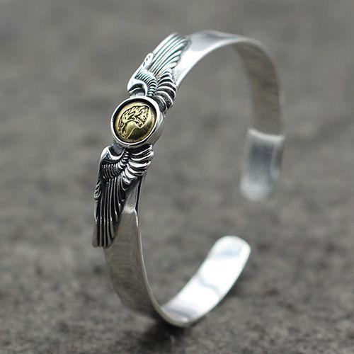 Men S Sterling Silver Eagle Cuff Bracelet Jewelryformen