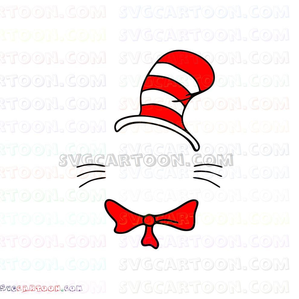 Dr Seuss The Cat In The Hat Svg Dxf Eps Pdf Png Seuss Dr Seuss Hat Svg