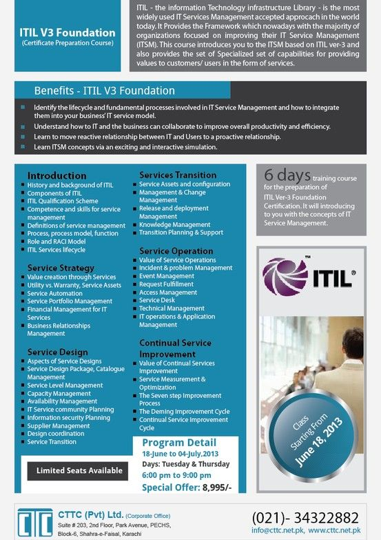 Itil Course Flyer Technology Infrastructure Information Technology Book Study