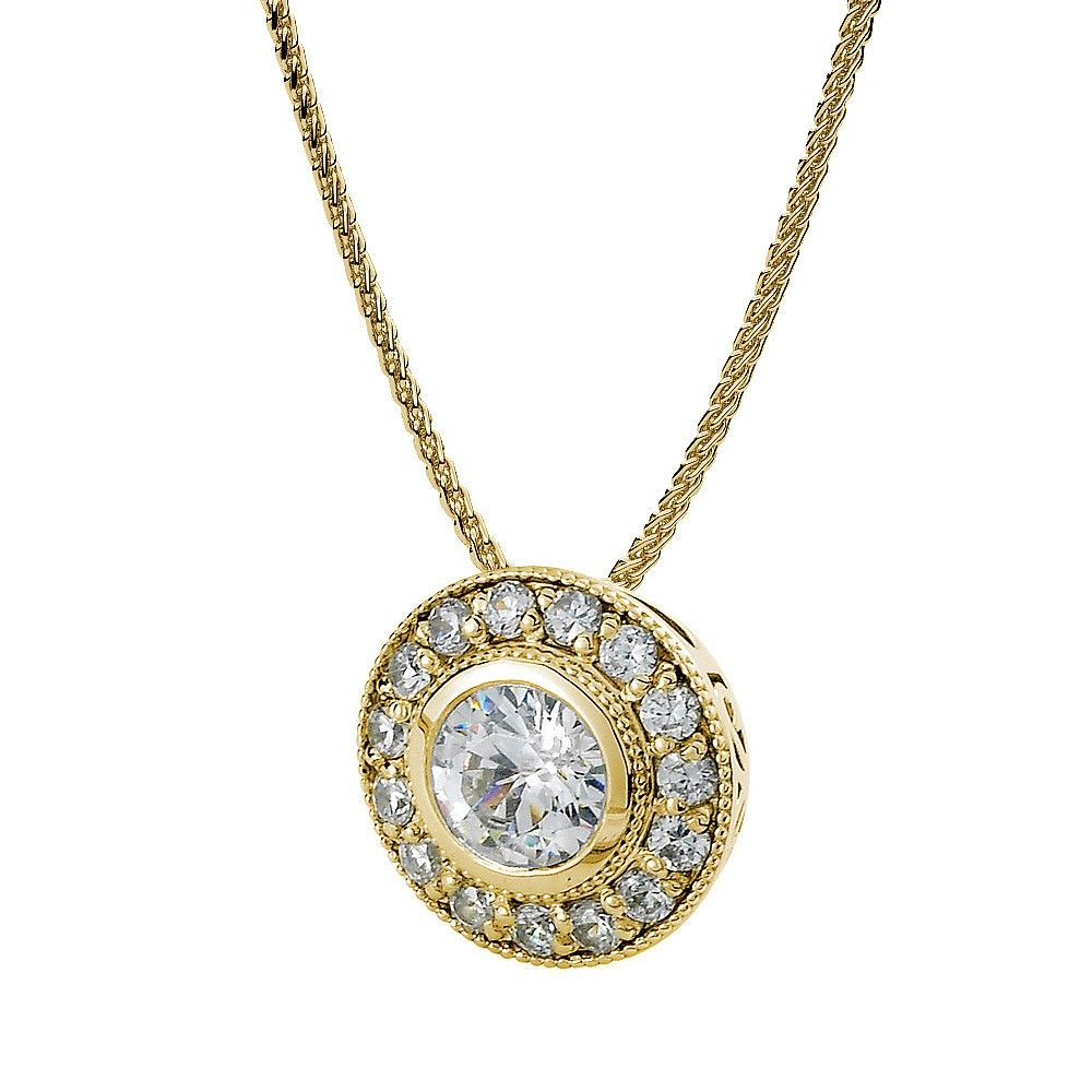 Diamond bezel and pave pendant in 14k yellow gold jewelry diamond bezel and pave pendant in 14k yellow gold aloadofball Images