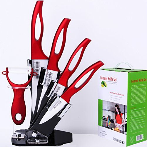 Professional Knife Set Super Sharp Kitchen Knives 6 Piece Red Ceramic Cutlery Chef