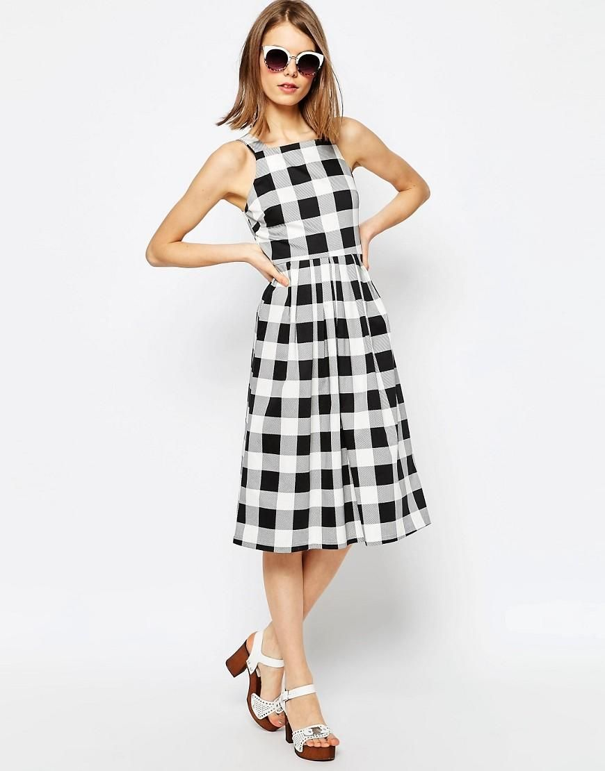Asos Structured Midi Dress In Gingham Print At Asos Com Midi Dress Casual Checkered Dress High Fashion Street Style [ 1110 x 870 Pixel ]
