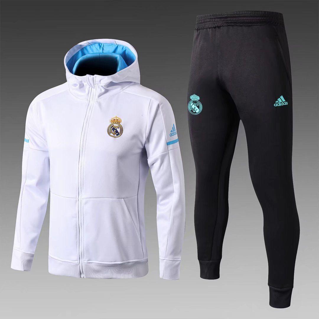 Men's adidas White Real Madrid Club Full Zip Hoodie