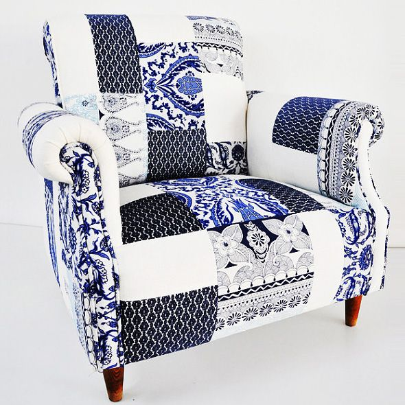 Blue And White Porcelain Patchwork Armchair By Name Design Studio - Fauteuil patchwork design