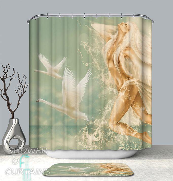 Divine Aqua Lady Shower Curtain - HXTC0317