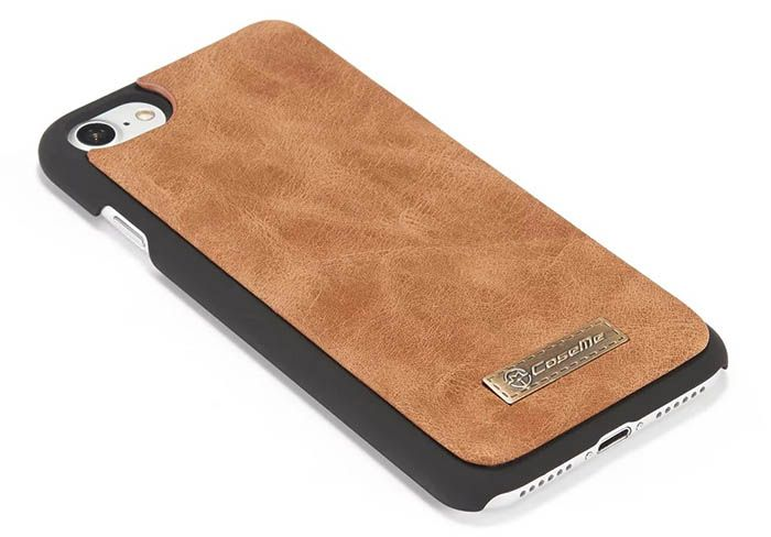 CaseMe 007 iPhone 7 Retro Flannelette Leather Detachable 2 in 1 Wallet Case Brown