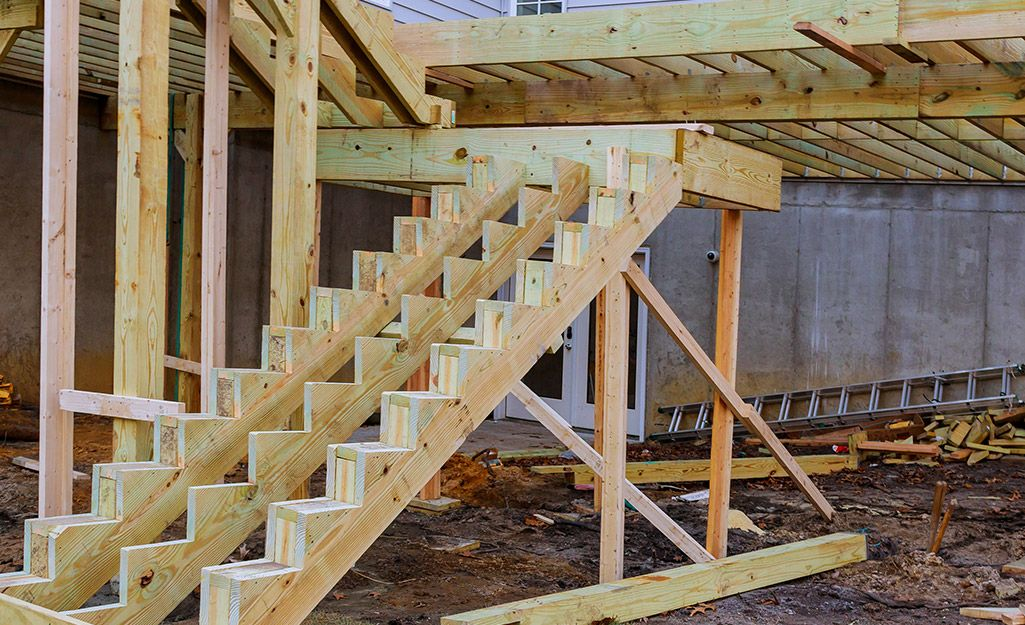 Constructed stair runs. in 2020 Raised deck, Building
