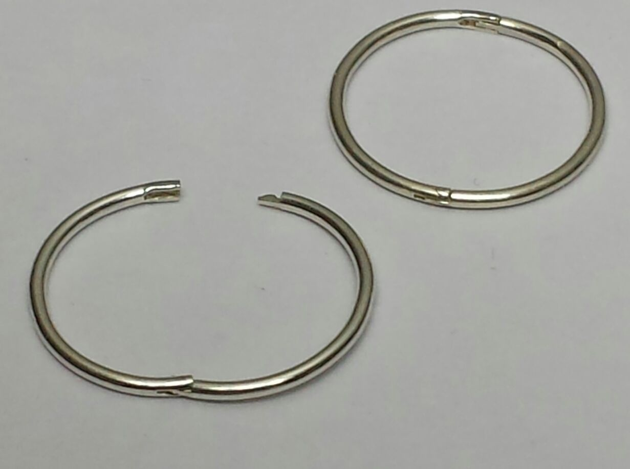 sterling silver plain hinged hoop sleepers earrings x 1pair 12 14