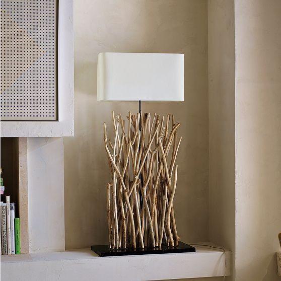 holz lampen idee selber machen tischlampe zweige dekorieren - deko idee holz