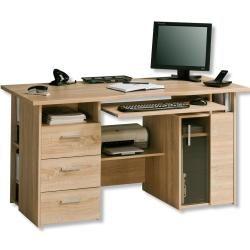 Schreibtisch Sonoma Eiche Mit Tastaturauszug Rollerroller In 2020 Schreibtische Fur Kleine Raume Schreibtischablage Schreibtisch