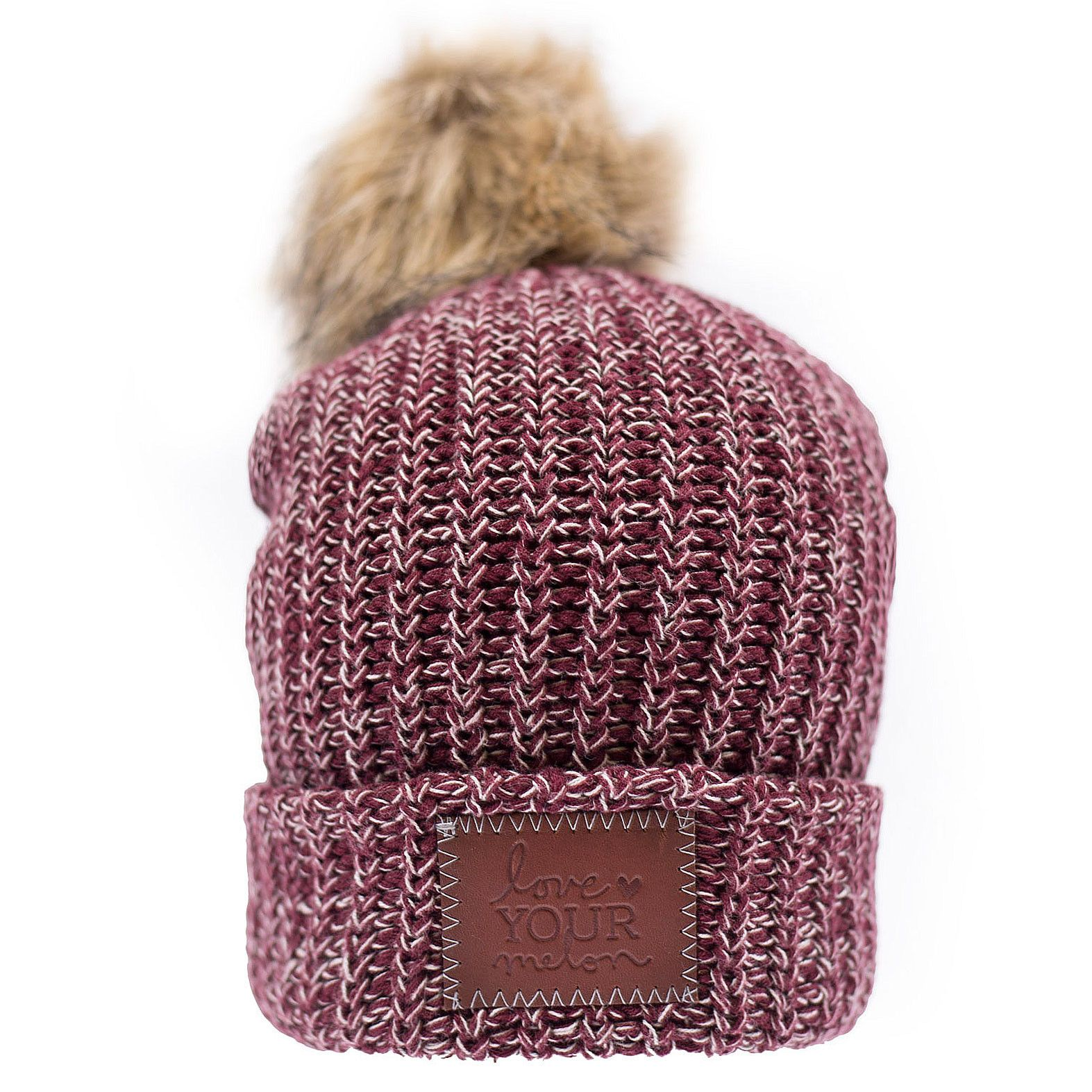 Burgundy And Natural Speckled Pom Beanie Love Your