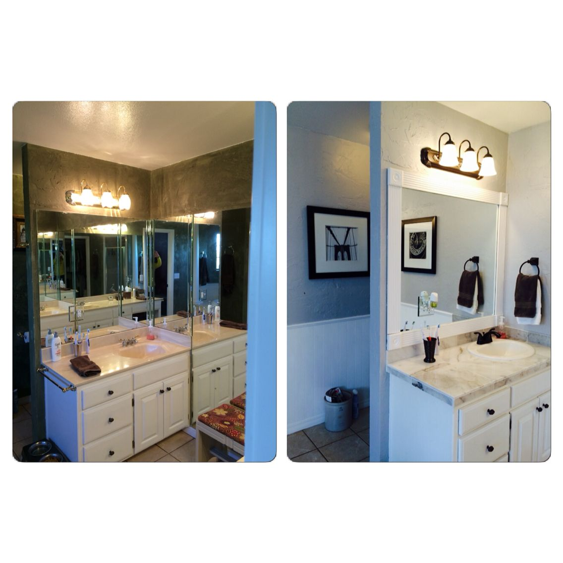 90\'s bathroom makeover- $4 clearance marble tile replaces hideous ...